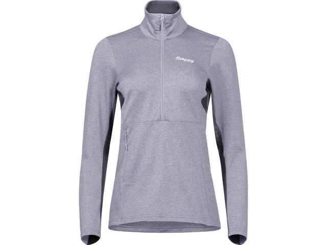 Bergans Fløyen Sweat-shirt en polaire avec demi-zip Femme, aluminium/solid dark grey/white